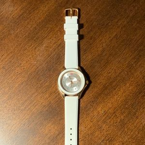 Michele Rose Gold White Watch